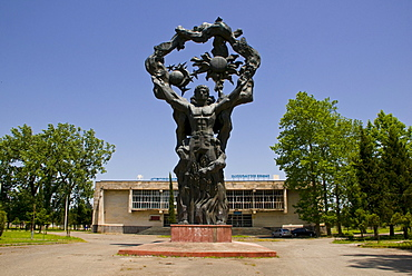 Heroic statue of a man from the Soviet era, Kutaisi, Georgia, Middle East