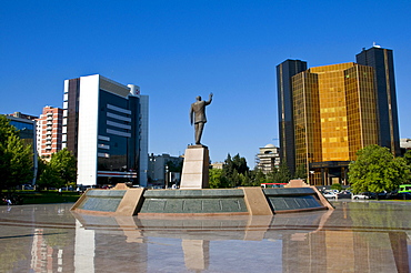 Modern buildings with a statue, Baku, Azerbaijan, Middle East