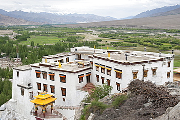 Indus Valley of the Indus River, Tibetan Buddhism, view from the top of Spituk Gompa Monastery near Leh, Ladakh district, Jammu and Kashmir, India, South Asia, Asia