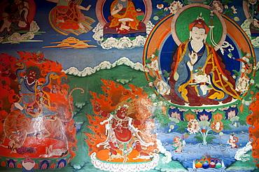 Tibetan Buddhism, old wall painting in the assembly hall, Padmasambhava, right, Guru Rinpoche, demons, Trakthok Gompa Monastery, Sakti near Leh, Ladakh district, Jammu and Kashmir, India, South Asia, Asia