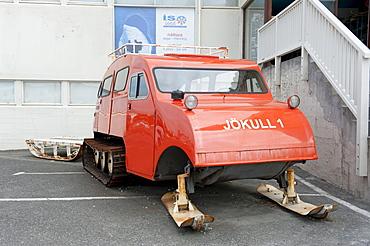 Old red snowmobile, Ski-Doo, Joekull 1, Hoefn, Iceland, Scandinavia, Northern Europe, Europe