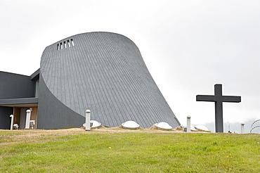 Modern church, concrete construction, with a large cross, new parish church, Bloenduos, Blonduos, Iceland, Scandinavia, Northern Europe, Europe
