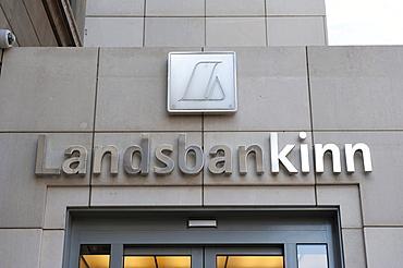 Building facade with logo of Landesbankinn, Landesbanki, Reykjavik, Iceland, Scandinavia, Northern Europe, Europe