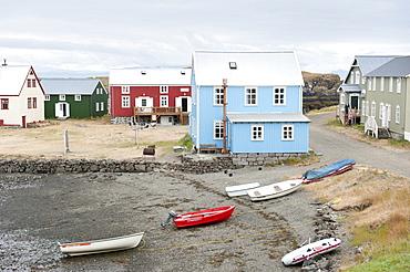 Colorful small houses, bay abd boats, Flatey island, Iceland, Scandinavia, Northern Europe, Europe