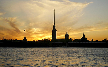 Evening mood at Peter and Paul Fortress on Rabbit Island, Neva River, St. Petersburg, Russia