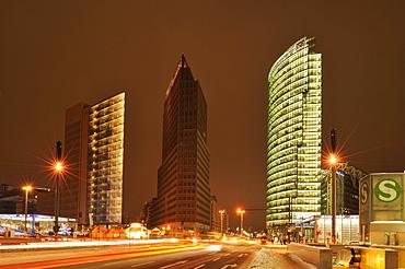 Skyscrapers on Potsdamer Platz, Chrysler Building, Sony Center, DB Tower and Beisheim Center with Ritz Carlton Hotel, Potsdamer Platz, Tiergarten, Berlin, Germany, Europe
