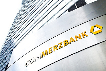 Logo on the headquarters of Commerzbank AG in the Commerzbank Tower, Frankfurt am Main, Hesse, Germany, Europe