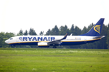 Boeing 737 from the budget airline Ryanair at Frankfurt-Hahn Airport in the Hunsrueck district near Simmern, Rhineland-Palatinate, Germany, Europe