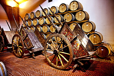 Sicilian cart in a wine cellar, Pellegrino Cellar, Marsala, Sicily, Italy, Europe