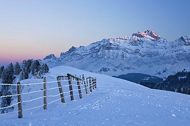 Evening mood on wintry Hochalp mountain, alpine pasture, Swiss Alps, Alpstein massif and Saentis mountain, Switzerland, Europe