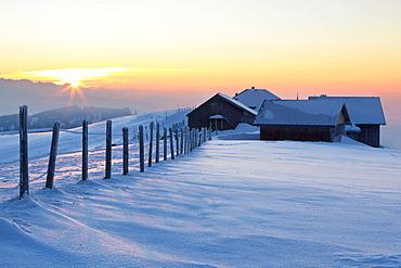Evening mood on the wintery Hochalp mountain pasture, in the Swiss Alps, Alpstein range with Mt. Saentis, Switzerland, Europe