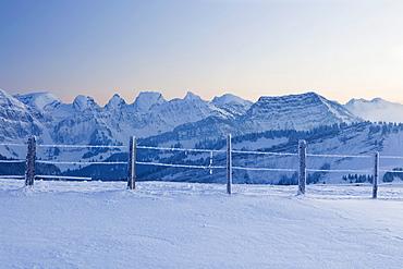 Evening on the Hochalp facing the Alpstein range with Mt. Saentis, Swiss Alps, Switzerland, Europe