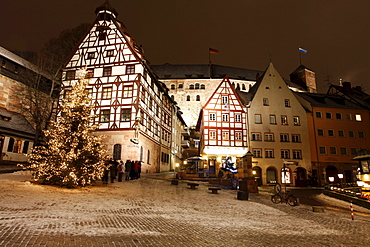 Historic district of Nuremberg with a Christmas tree, Bavaria, Germany, Europe
