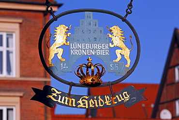 Sign of the Lueneburger Kronen-Bier brewery in front of the Hotel and Restaurant Zum Heidkrug in the historic old town, Lueneburg, Hamburg, Lower Saxony, Germany, Europe