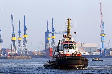 Tugboat, Bugsier 9, on the Elbe River, Port of Hamburg, Hanseatic City of Hamburg, Germany, Europe
