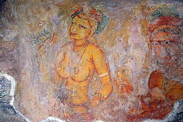 Cloud maidens, fresco on cave wall, 5th Century, Lion Rock, rock fortress, UNESCO World Heritage site, Sigiriya, Sri Lanka, Asia