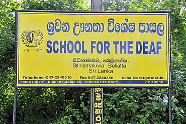 School for the deaf, sign, Beliatta, Sri Lanka, Ceylon, South Asia, Asia