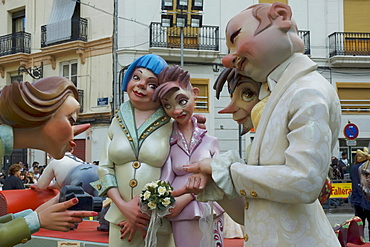 Crude carnival characters and satirical sculptures at a parade, Fallas festival, Falles festival in Valencia in early spring, Spain, Europe