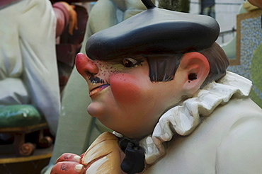 Basque man with a stuck-up nose wearing a beret, crude carnival characters and satirical sculptures at a parade, Fallas festival, Falles festival in Valencia in early spring, Spain, Europe