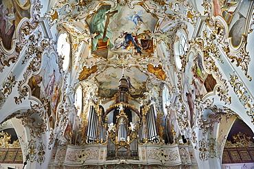 Organ and ceiling fresco, Collegiate Church of Mariae Geburt or the Nativity of Mary, Kloster Rottenbuch monastery, Pfaffenwinkel, Bavaria, Germany, Europe