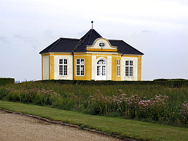 Tea pavilion at Valdemars Castle, Svendborg, Funen, Denmark, Europe