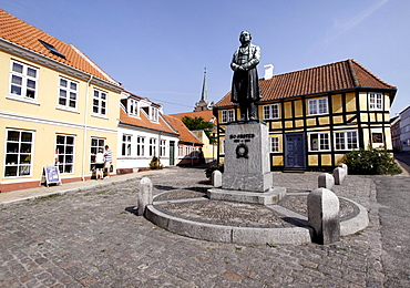 Sqare in Rudkobing with a statue of the physicist and chemist Hans Christian orsted, Langeland, Denmark, Europe
