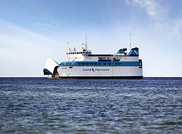 Ferry of the Langeland Trafikken with open bow visor on the way from TÃ'rs to Spodsbjerg, Langeland, Denmark, Europe