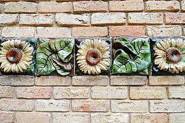 Sunflowers, ornaments, El Capricho de Gaudi manor, architect Antoni Gaudi, Comillas, Cantabria, Spain, Europe