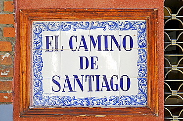 El Camino de Santiago, sign, Spanish tiles, azulejos, Leon, province of Castilla y Leon, Castile and Leon, Spain, Europe