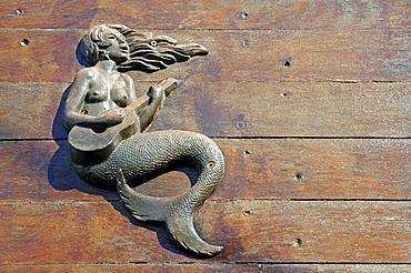 Mermaid playing the guitar, decoration on the hull of a ship, La Magdalena peninsula, Santander, Cantabria, Spain, Europe