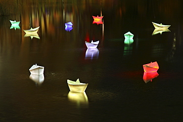 Boats in a lake at Potsdamer Platz during the Festival of Lights 2010, Berlin, Germany, Europe