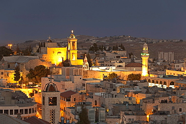 Panoramic view of Bethlehem at night, Palestine, Middle East