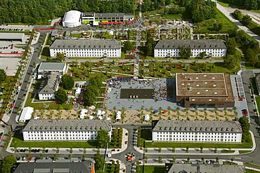 Aerial view, State Garden Show Hemer, on a former military barracks, Maerkischer Kreis district, Sauerland, North Rhine-Westphalia, Germany, Europe