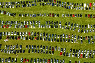 Aerial view, car park, State Garden Show Hemer, on a former military barracks, Maerkischer Kreis district, Sauerland, North Rhine-Westphalia, Germany, Europe