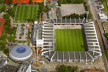 Aerial view, Rewir Power Stadium, stadium expansion VfL Bochum, Bochum, Ruhr Area, North Rhine-Westphalia, Germany, Europe