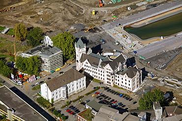 Aerial view, Hoerder Burg castle, Phoenix-See lake, also named Phoenix-Ost project, Emschersee lake, Emscher river, Dortmund, Ruhr area, North Rhine-Westphalia, Germany, Europe
