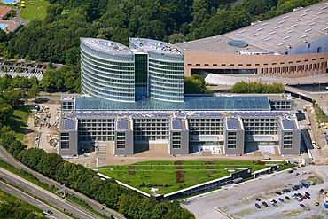 Aerial view, new corporate headquarters of EON Ruhrgas, a German energy corporation, Essen, Ruhr area, North Rhine-Westphalia, Germany, Europe