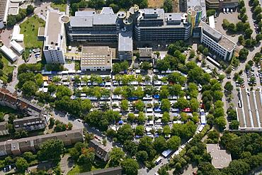 Aerial view, flea market, Essen University car park, Essen, Ruhr Area, North Rhine-Westphalia, Germany, Europe