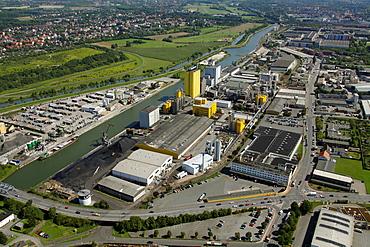 Aerial view, Broeckelmann Broelio building development, oil mill, Hamm, Ruhr area, North Rhine-Westphalia, Germany, Europe