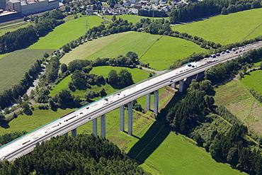 Aerial view, renovation of a motorway bridge, Sauerland area, valley, meadows, Meschede, North Rhine-Westphalia, Germany, Europe