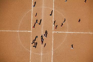 Aerial view, sports ground, clay court, youth training, soccer club, Wetter, Ruhrgebiet region, North Rhine-Westphalia, Germany, Europe