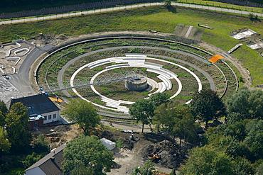 Aerial view, EmscherKunst art project, garden art in the Bernepark park, former Bottrop sewage treatment plant, artist Piet Oudolf and GROss.MAX landscape architects, Bottrop, Ruhr area, North Rhine-Westphalia, Germany, Europe