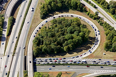 Aerial view, traffic jam on the Herne motorway intersection, A42 motorway and A43 motorway, Herne, Ruhr area, North Rhine-Westphalia, Germany, Europe