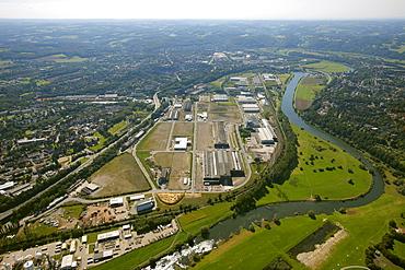 Aerial view, trade and landscape park Henrichshuette, Hattingen, Ruhr Area, North Rhine-Westphalia, Germany, Europe