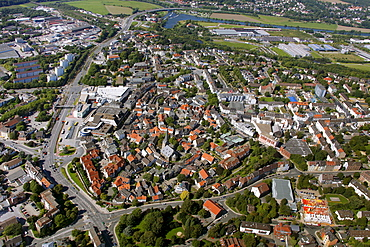 Aerial view, city centre, historic district, Hattingen, Ruhr area, North Rhine-Westphalia, Germany, Europe