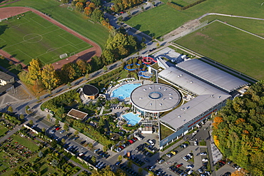 Aerial view, Rietzgartenviertel district, Maximare Spa, Sauna and Wellness Resort, sauna, sunbathing area, outdoor pool, Hamm, Ruhr Area, North Rhine-Westphalia, Germany, Europe