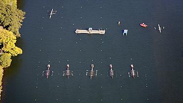 Aerial view, boat race, regatta on the Ruhr river, Essen-Kettwig, Essen, Ruhrgebiet region, North Rhine-Westphalia, Germany, Europe