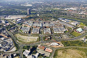 Aerial, Centro Neue Mitte, Oberhausen, Ruhrgebiet region, North Rhine-Westphalia, Germany, Europe