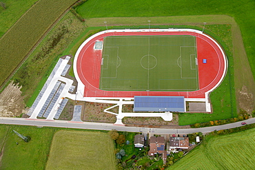 Aerial view, Hasslinghausen, new sports facility, sports field, Sprockhoevel, Ruhrgebiet region, North Rhine-Westphalia, Germany, Europe
