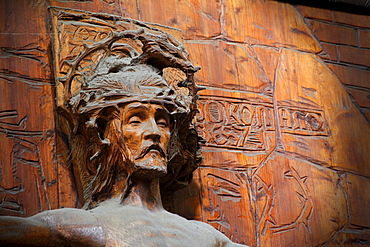 Jesus figure, wood carving with cobwebs, Saint Vitus' Cathedral, Prague Castle, Hradcany, Prague, Czech Republic, Europe